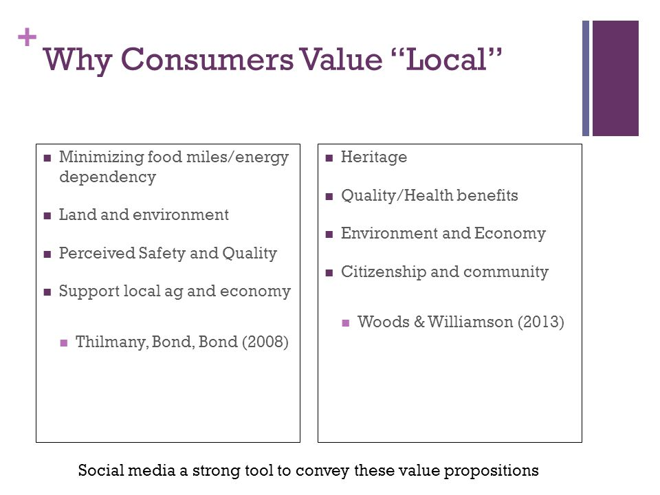 + Why Consumers Value Local Minimizing food miles/energy dependency Land and environment Perceived Safety and Quality Support local ag and economy Thi