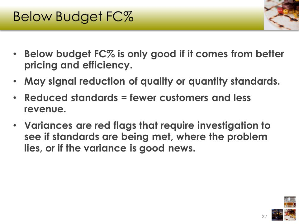 Below Budget FC% Below budget FC% is only good if it comes from better pricing and efficiency. May signal reduction of quality or quantity standards.