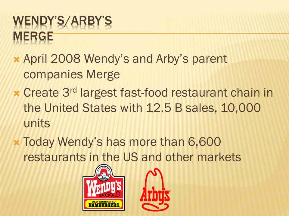 April 2008 Wendys and Arbys parent companies Merge Create 3 rd largest fast-food restaurant chain in the United States with 12.5 B sales, 10,000 units Today Wendys has more than 6,600 restaurants in the US and other markets