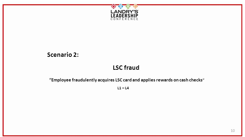 10 Scenario 2: LSC fraud Employee fraudulently acquires LSC card and applies rewards on cash checks L1 – L4