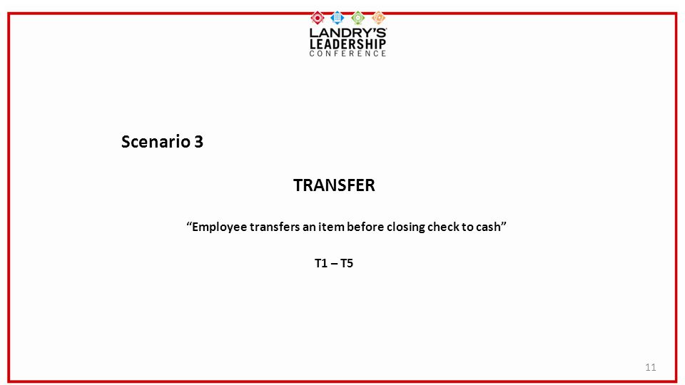 11 Scenario 3 TRANSFER Employee transfers an item before closing check to cash T1 – T5