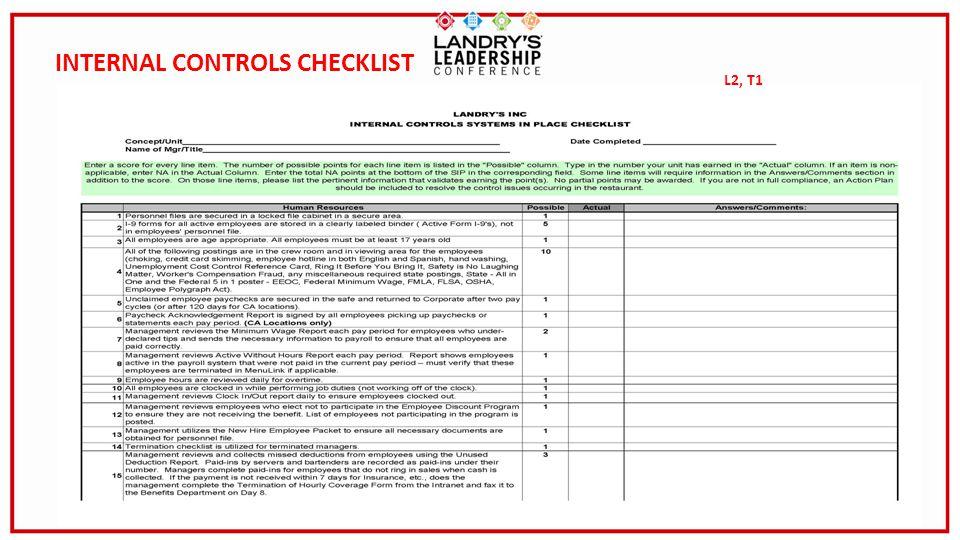 13 INTERNAL CONTROLS CHECKLIST L2, T1