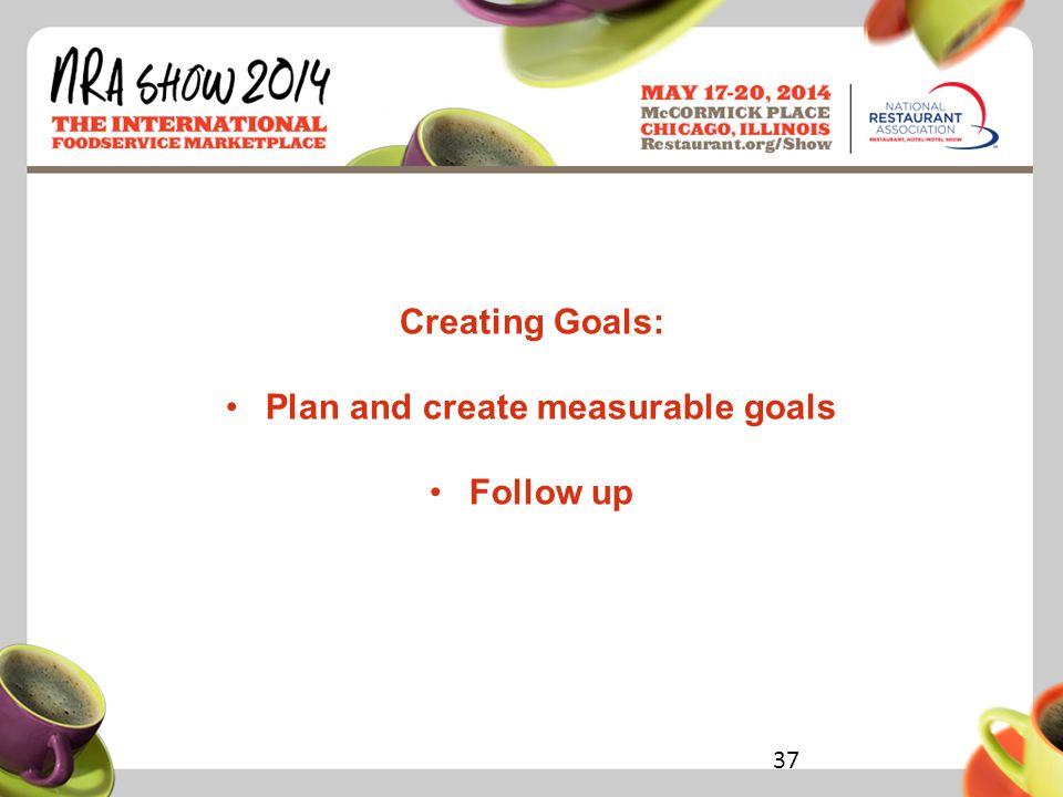 Restaurant.org/Show #NRAShow Creating Goals: Plan and create measurable goals Follow up 37