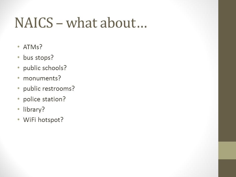 NAICS – what about… ATMs. bus stops. public schools.