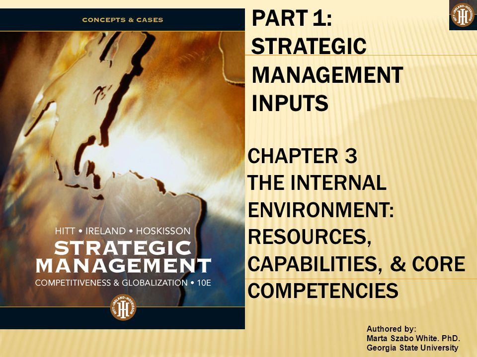 Authored by: Marta Szabo White. PhD. Georgia State University PART 1: STRATEGIC MANAGEMENT INPUTS CHAPTER 3 THE INTERNAL ENVIRONMENT: RESOURCES, CAPAB