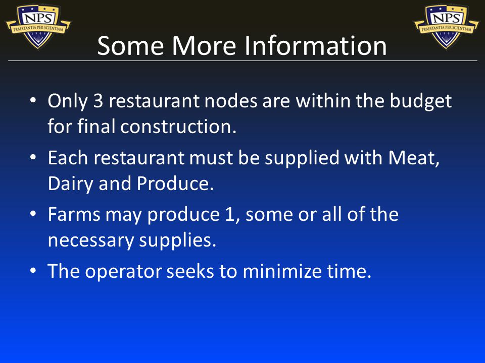 Some More Information Only 3 restaurant nodes are within the budget for final construction.