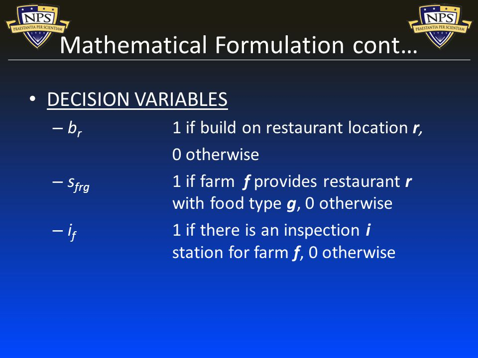 Mathematical Formulation cont… DECISION VARIABLES – b r 1 if build on restaurant location r, 0 otherwise – s frg 1 if farm f provides restaurant r with food type g, 0 otherwise – i f 1 if there is an inspection i station for farm f, 0 otherwise