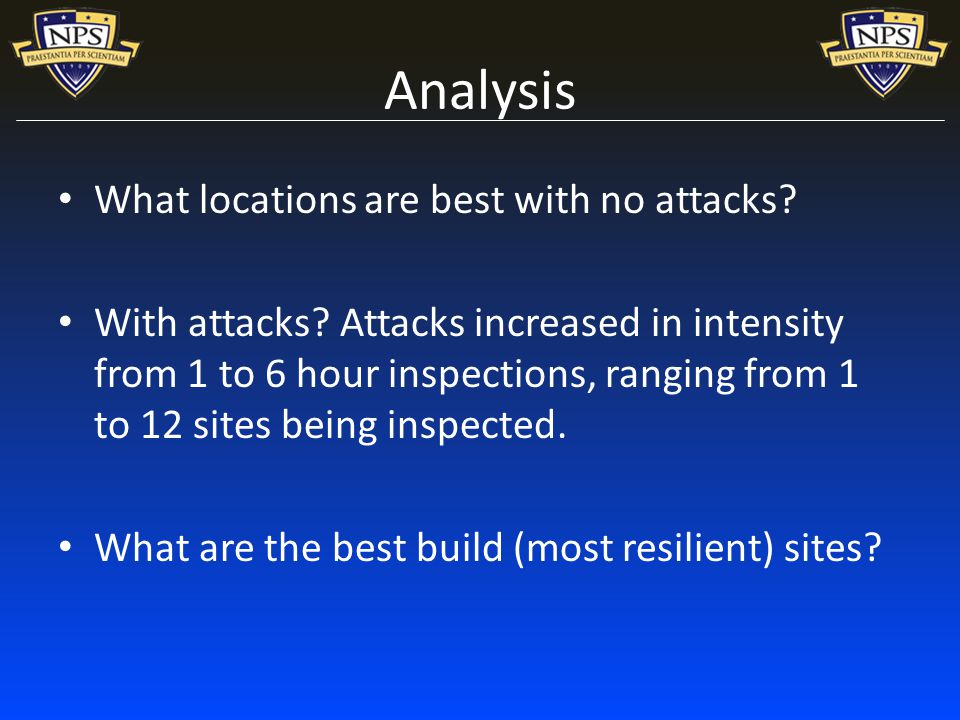 Analysis What locations are best with no attacks. With attacks.