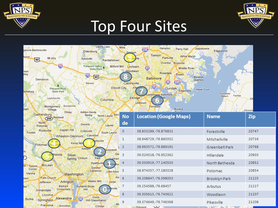 Top Four Sites No de Location (Google Maps)NameZip , Forestville , Mitchellville , Greenbelt Park , Hillandale , North Bethesda , Potomac , Brooklyn Park , Arbutus , Woodlawn , Pikesville 21208