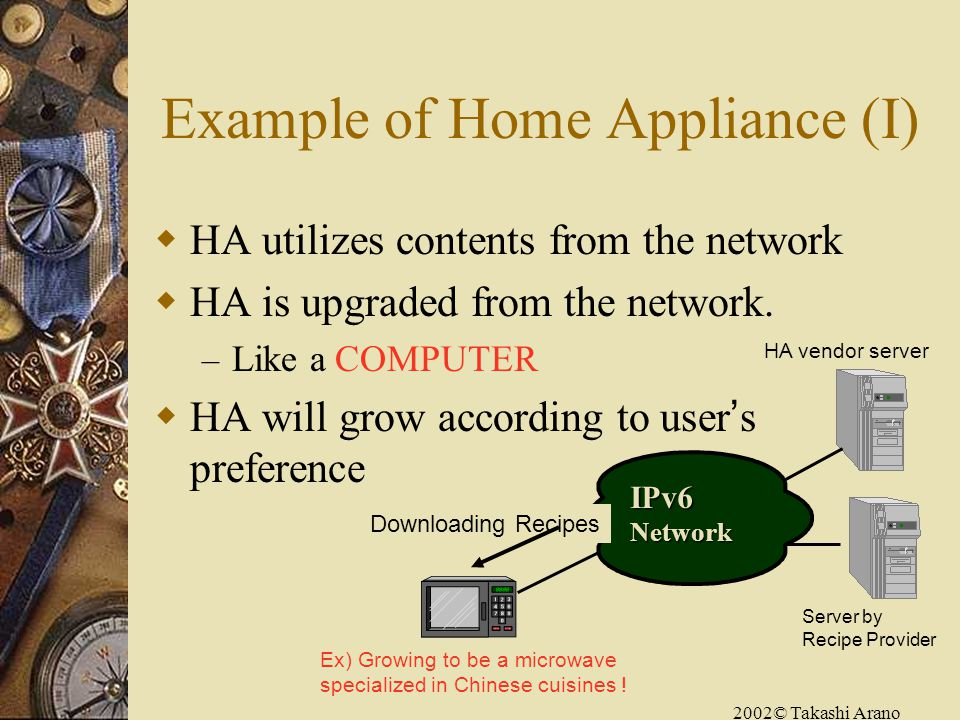 2002© Takashi Arano Example of Home Appliance (I) HA utilizes contents from the network HA is upgraded from the network.