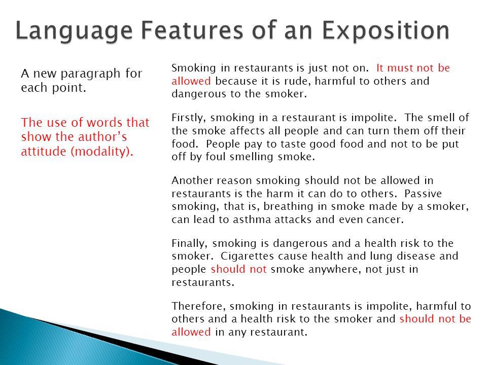 Smoking in restaurants is just not on.