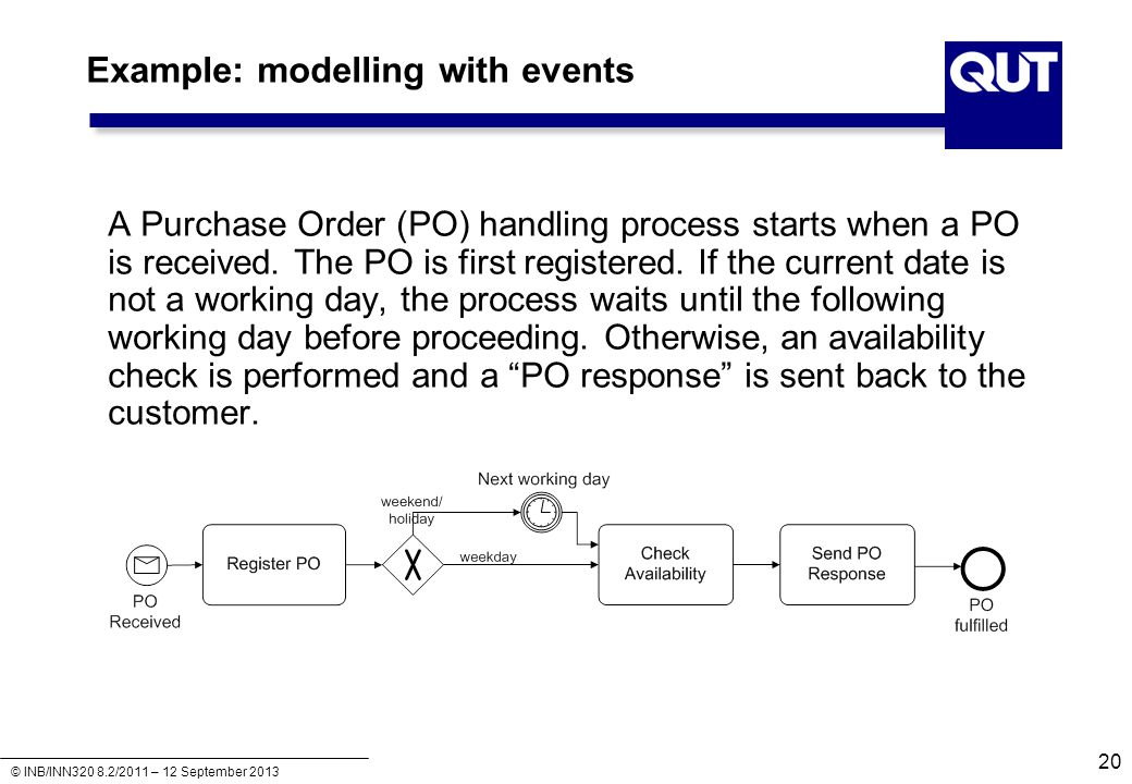 © INB/INN320 8.2/2011 – 12 September 2013 Example: modelling with events 20 A Purchase Order (PO) handling process starts when a PO is received. The P