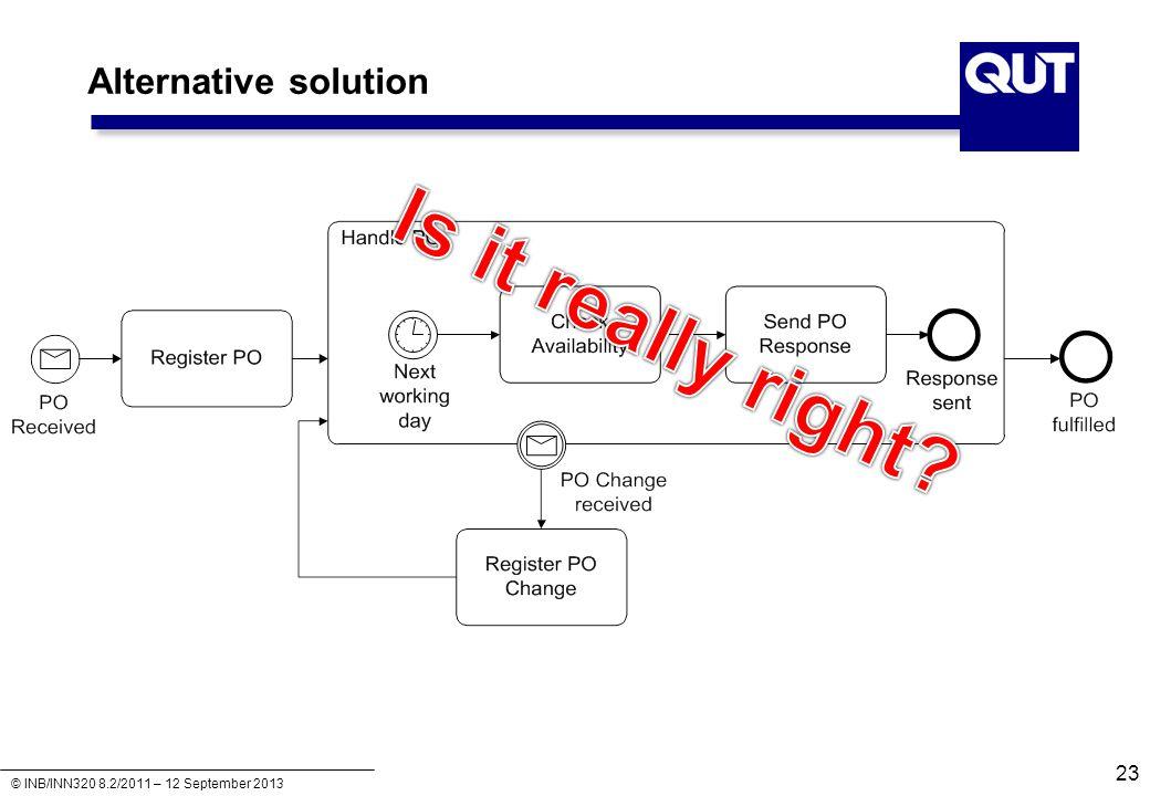 © INB/INN320 8.2/2011 – 12 September 2013 Alternative solution 23