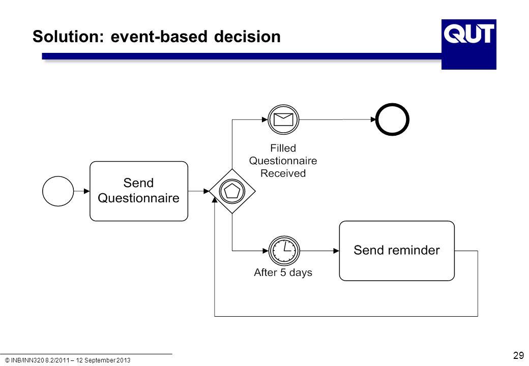 © INB/INN320 8.2/2011 – 12 September 2013 Solution: event-based decision 29