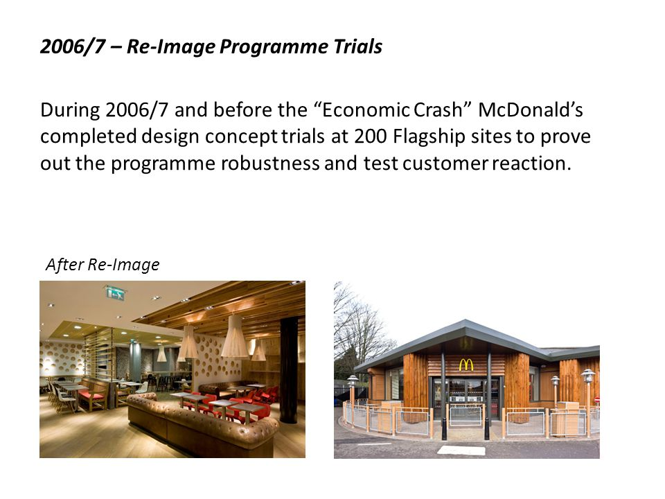 2008 - Re-Image Roll-Out And so began a programme to Re-Image 1,000 Shopping Mall, High Street and Drive-Thru restaurants in 5 years - in simple terms a requirement to complete one restaurant every two days.