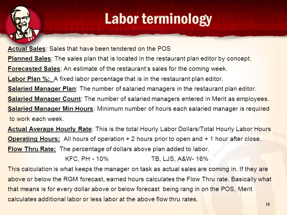 Labor terminology Actual Sales: Sales that have been tendered on the POS Planned Sales: The sales plan that is located in the restaurant plan editor b
