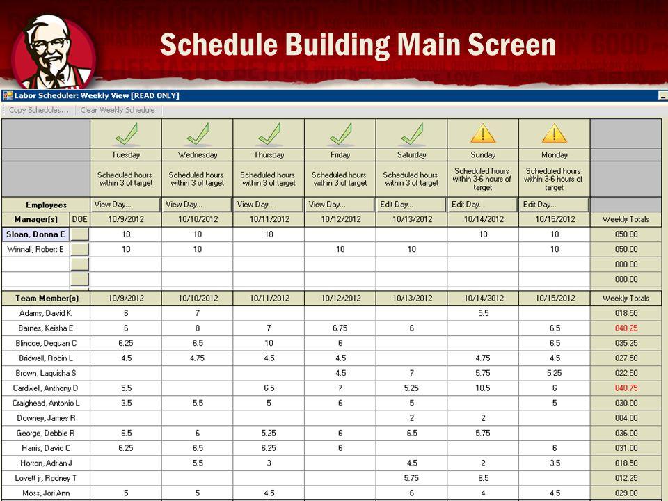 Schedule Building Main Screen 14