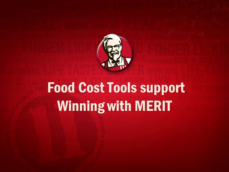Food Cost Tools support Winning with MERIT