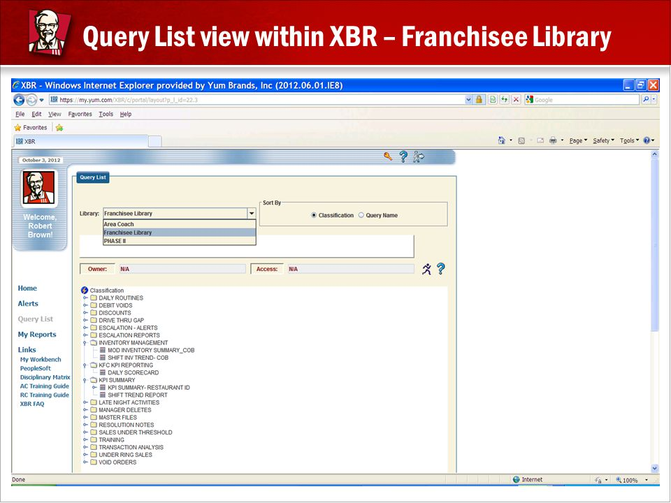 Query List view within XBR – Franchisee Library