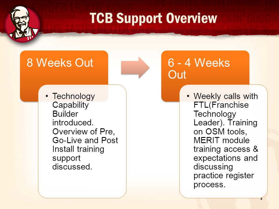 TCB Support Overview 4 4 – 0 Weeks Out Continue regular calls/webinars with FTL to ensure training completion, introduction to key reports & processes, on-going coaching on Install readiness Go Live Date FTL and Rgm works with Implementation Specialist during Start of Day, Shift change and Close of Day process.