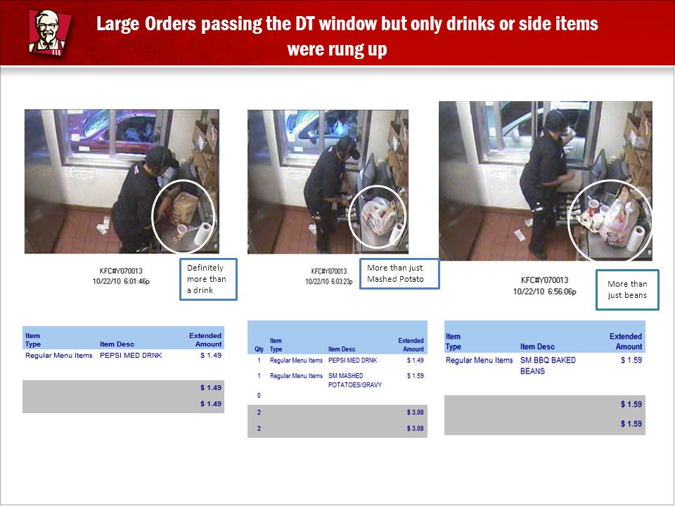 Large Orders passing the DT window but only drinks or side items were rung up Definitely more than a drink More than just Mashed Potato More than just