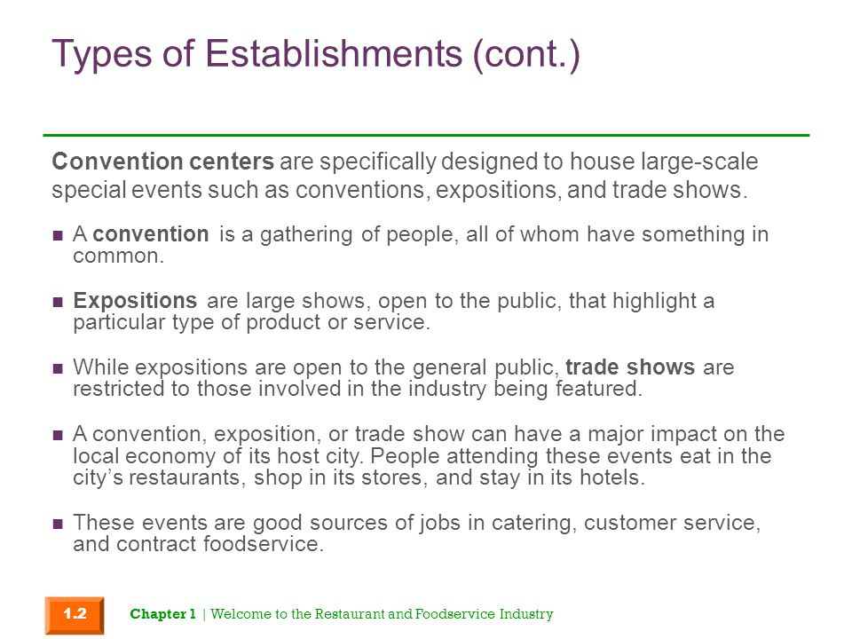 Types of Establishments (cont.) A convention is a gathering of people, all of whom have something in common. Expositions are large shows, open to the