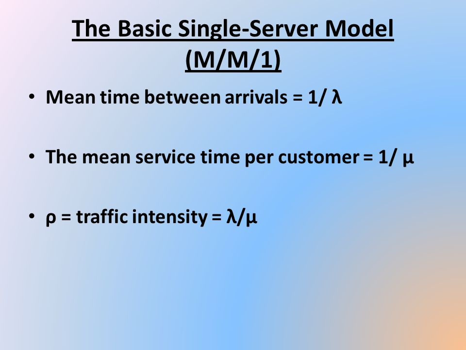 The Basic Single-Server Model (M/M/1) Mean time between arrivals = 1/ λ The mean service time per customer = 1/ μ ρ = traffic intensity = λ/μ