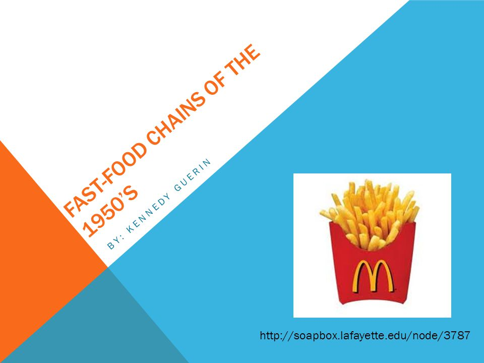 FAST-FOOD CHAINS OF THE 1950S BY: KENNEDY GUERIN http://soapbox.lafayette.edu/node/3787