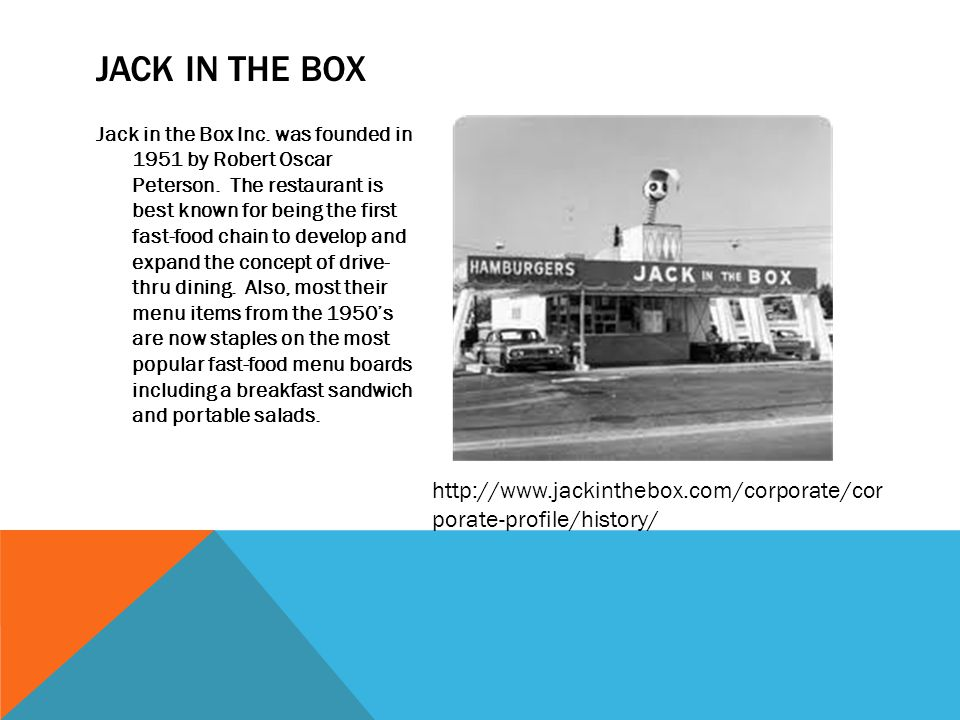 Jack in the Box Inc.was founded in 1951 by Robert Oscar Peterson.
