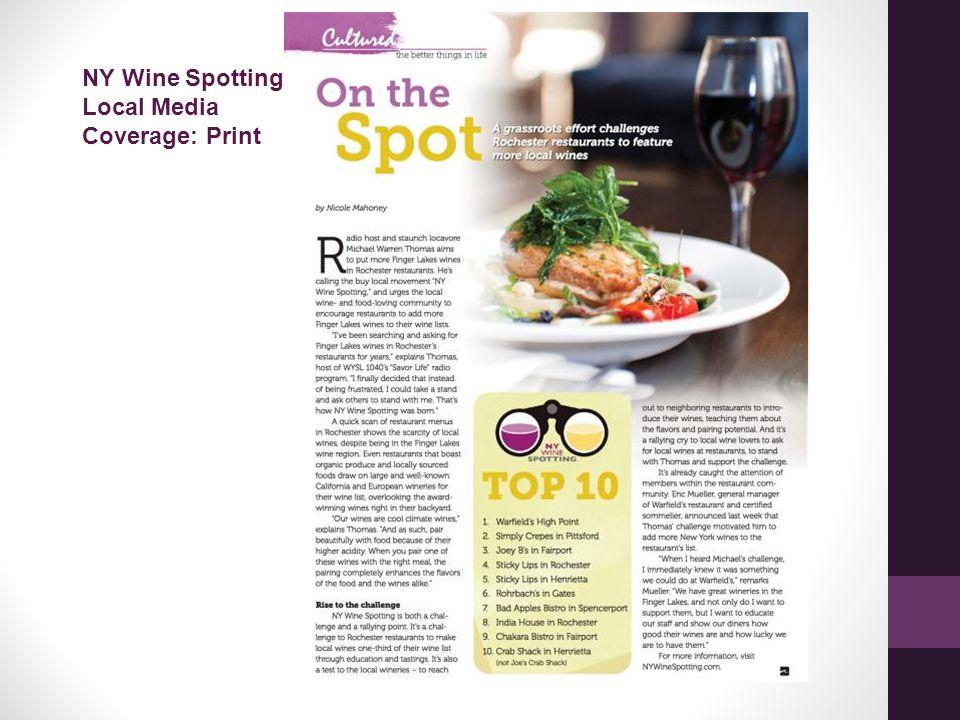 NY Wine Spotting Local Media Coverage: Print