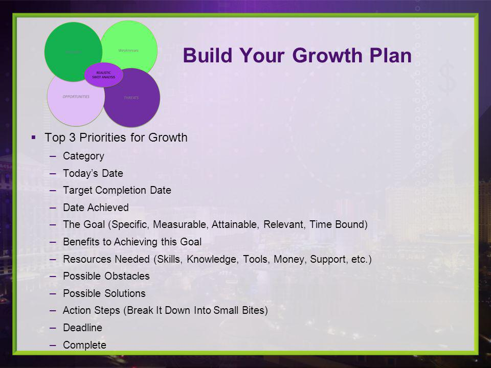 Top 3 Priorities for Growth Category Todays Date Target Completion Date Date Achieved The Goal (Specific, Measurable, Attainable, Relevant, Time Bound) Benefits to Achieving this Goal Resources Needed (Skills, Knowledge, Tools, Money, Support, etc.) Possible Obstacles Possible Solutions Action Steps (Break It Down Into Small Bites) Deadline Complete Build Your Growth Plan