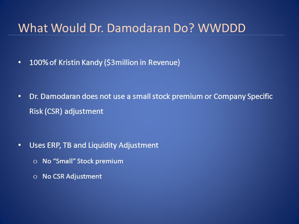 What Would Dr. Damodaran Do. WWDDD 100% of Kristin Kandy ($3million in Revenue) Dr.