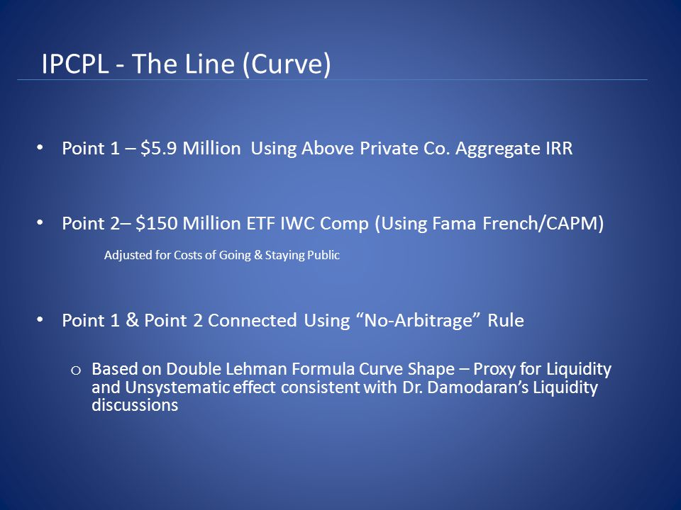 IPCPL - The Line (Curve) Point 1 – $5.9 Million Using Above Private Co.