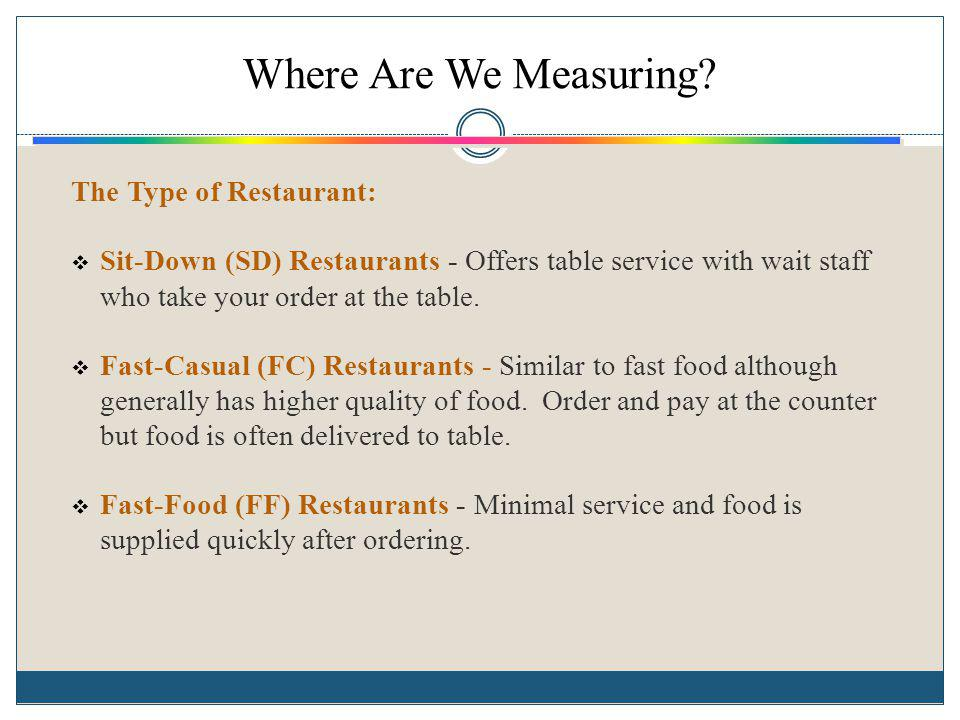 Where Are We Measuring? The Type of Restaurant: Sit-Down (SD) Restaurants - Offers table service with wait staff who take your order at the table. Fas