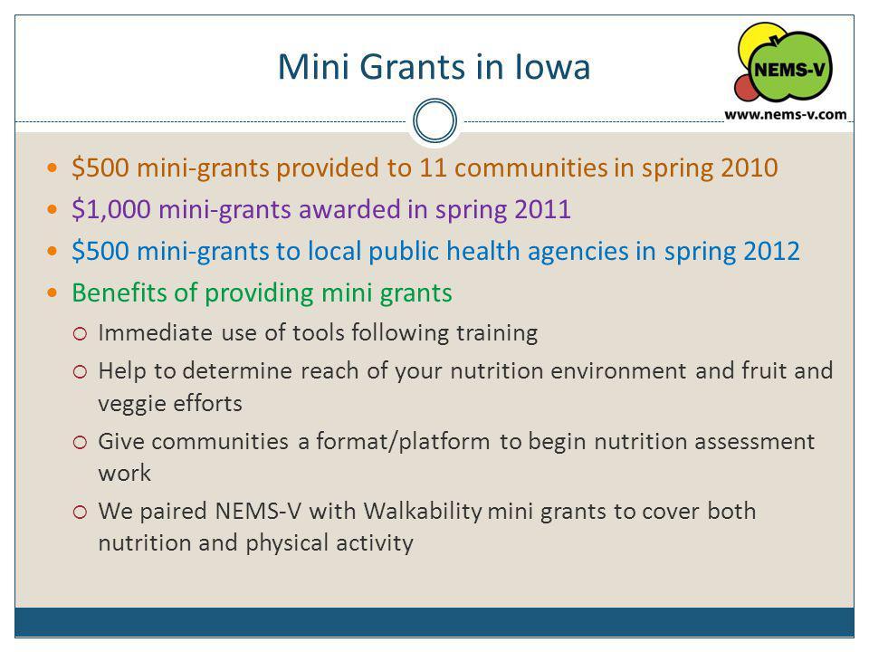 Mini Grants in Iowa $500 mini-grants provided to 11 communities in spring 2010 $1,000 mini-grants awarded in spring 2011 $500 mini-grants to local pub