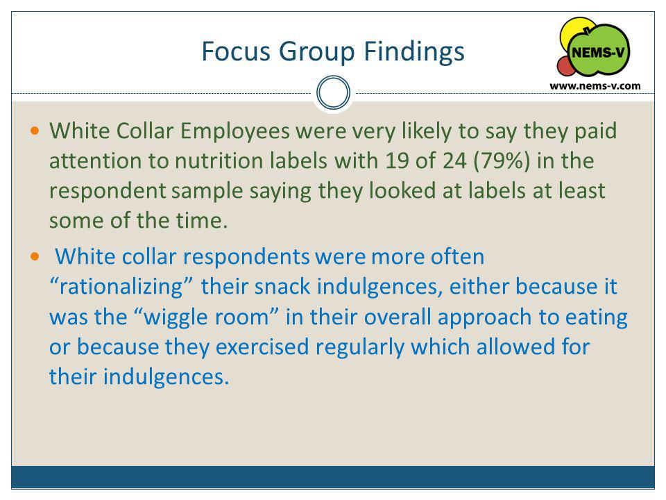 Focus Group Findings White Collar Employees were very likely to say they paid attention to nutrition labels with 19 of 24 (79%) in the respondent samp