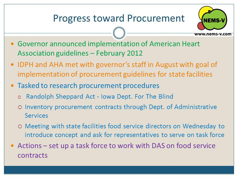 Progress toward Procurement Governor announced implementation of American Heart Association guidelines – February 2012 IDPH and AHA met with governors
