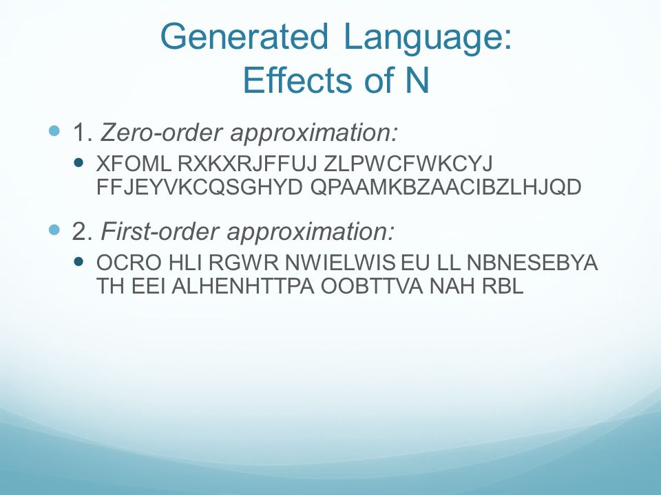 Generated Language: Effects of N 1.