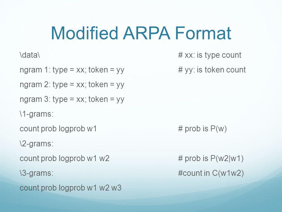 Modified ARPA Format \data\ ngram 1: type = xx; token = yy ngram 2: type = xx; token = yy ngram 3: type = xx; token = yy \1-grams: count prob logprob