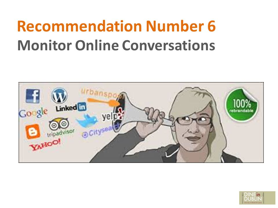 Recommendation Number 6 Monitor Online Conversations