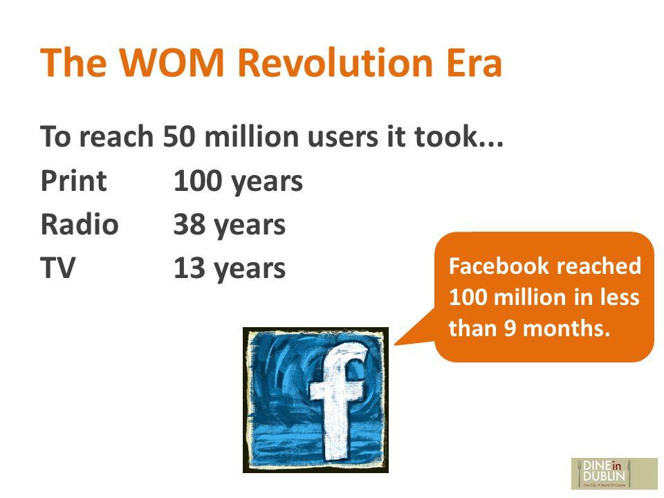 The WOM Revolution Era To reach 50 million users it took...