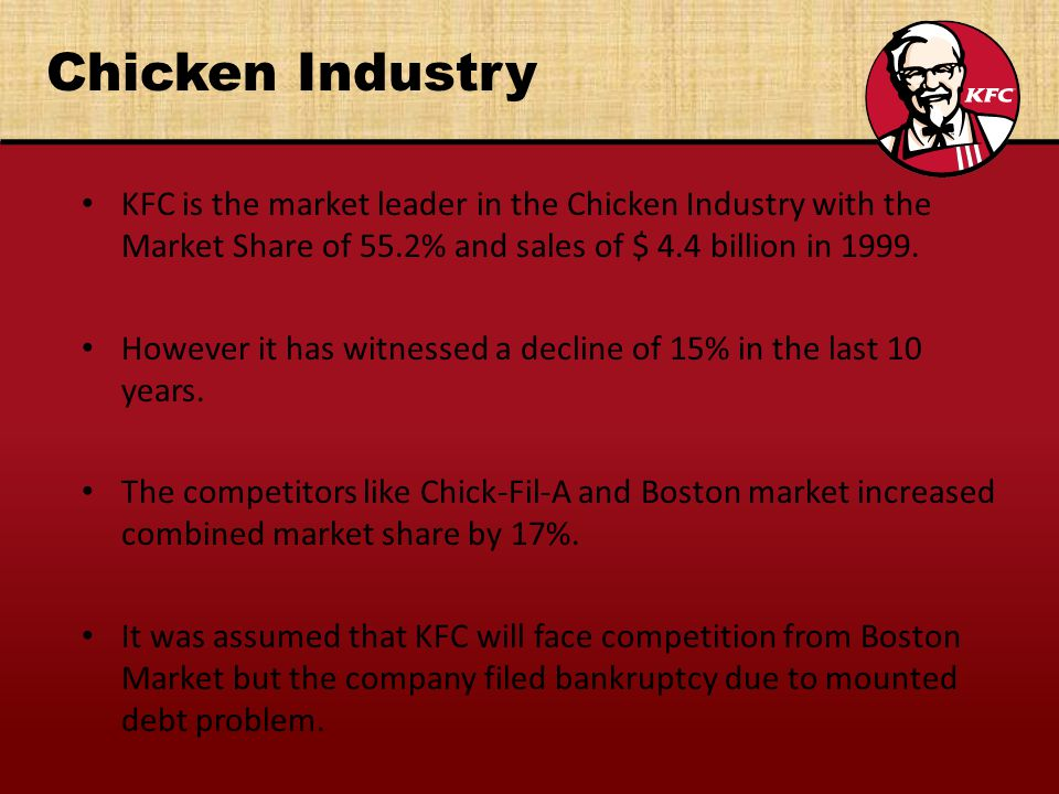 Chicken Industry KFC is the market leader in the Chicken Industry with the Market Share of 55.2% and sales of $ 4.4 billion in 1999. However it has wi