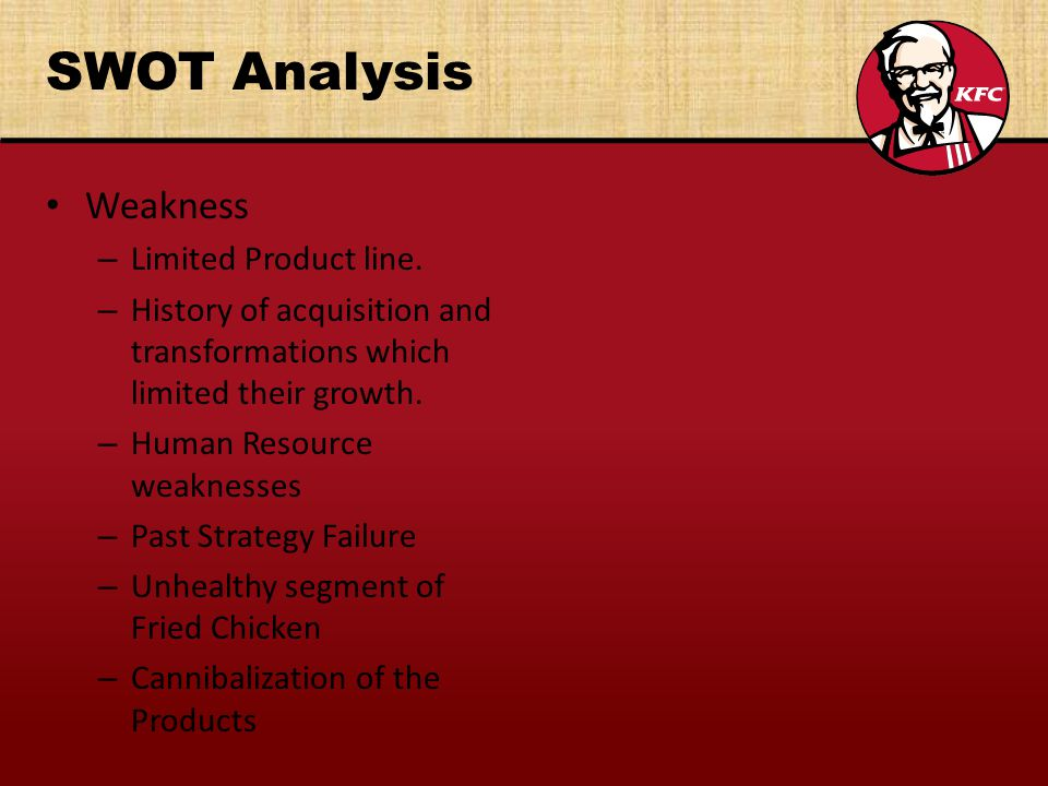SWOT Analysis Weakness – Limited Product line.