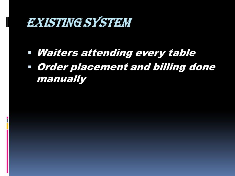 EXISTING SYSTEM Waiters attending every table Order placement and billing done manually