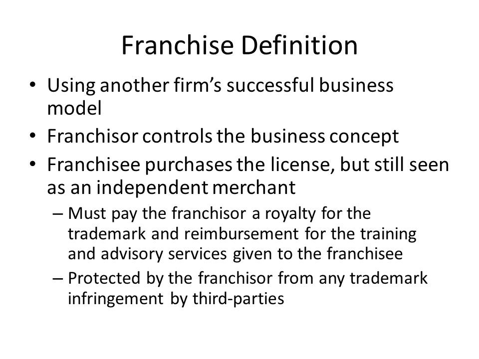 Non-Franchise Fast Food Remember definition: pay before you eat Single establishment Ex: Ma and Pa locally-owned fast food restaurants (sub shops, pizzerias, burger joints, etc)