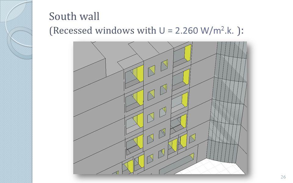 South wall (Recessed windows with U = 2.260 W/m 2.k. ) : 26