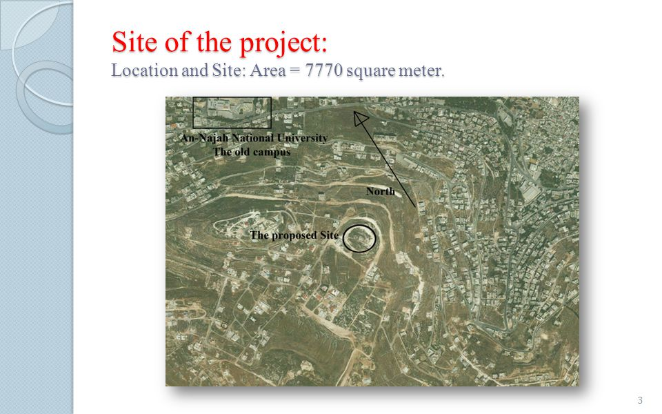 Site of the project: Location and Site: Area = 7770 square meter. 3
