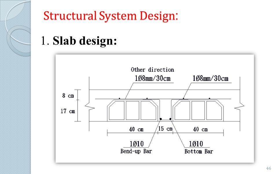 :Structural System Design 1. Slab design: 46