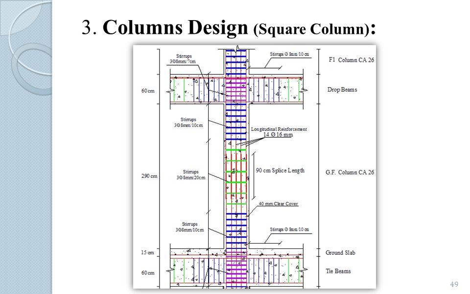 3. Columns Design (Square Column) : 49