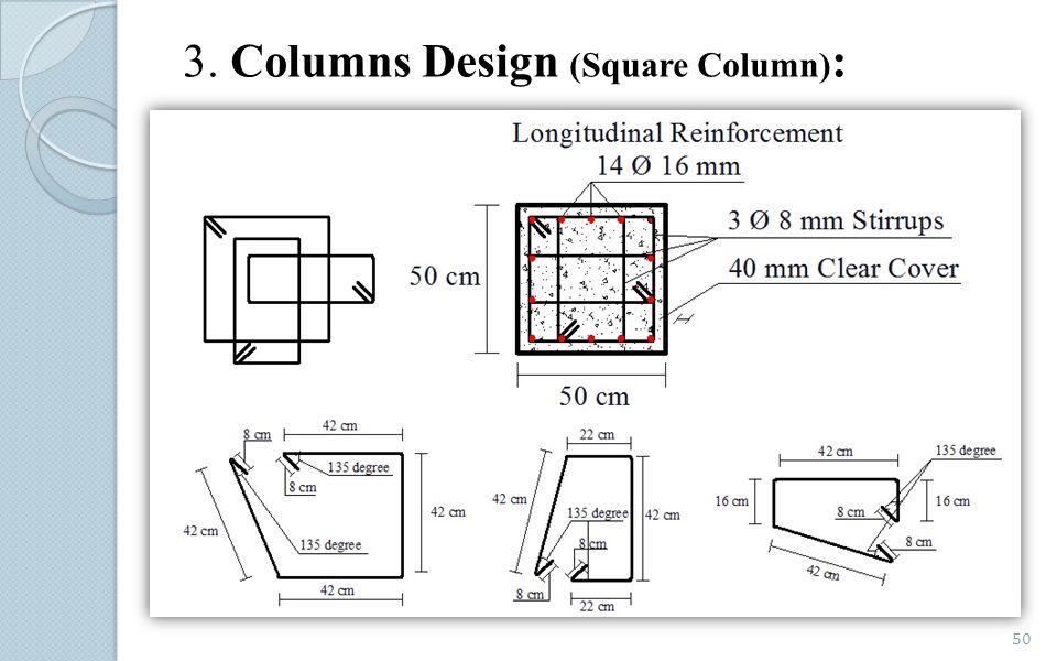 3. Columns Design (Square Column) : 50